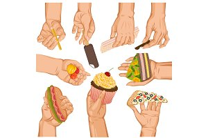 Hands with cake vector arm holding cupcake or sweet confection dessert icecream illustration set of hand with pizza or sweets isolated on white background