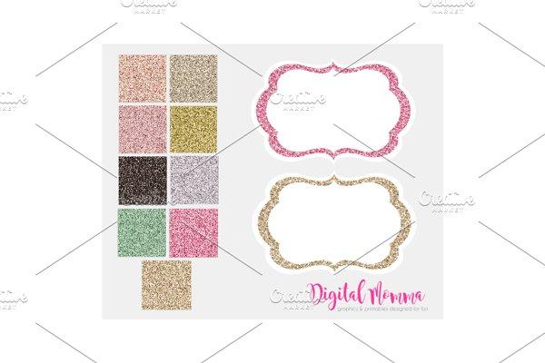 Glitter Digital Frames, White Insert