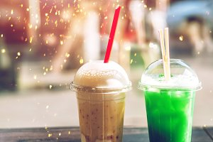 milkshake with syrup and topping. drink for two. summer and drink