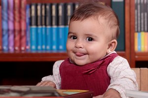 Baby in library