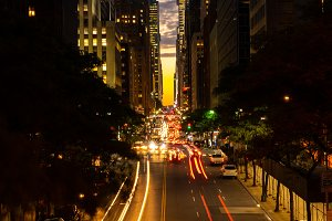 Manhattanhenge when the sun sets along 42nd street in NY
