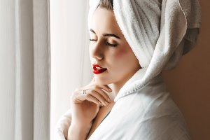 young girl. skin and body care. girl in towel and blanket. beauty saloon