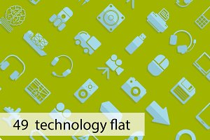 49 technology flat icons