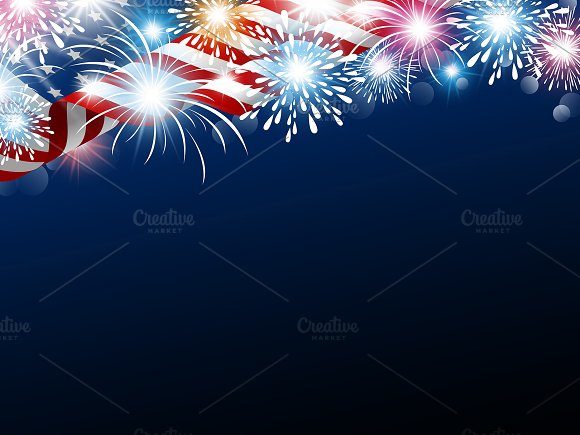 American flag with fireworks in Illustrations