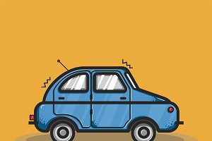 Hatchback car transportation graphic