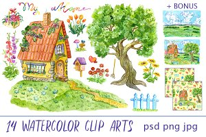 Cute house clip art set 3