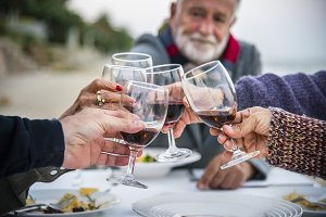 Seniors toast with red wine at beach