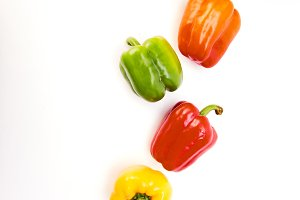 Colorful bell peppers circular arrangement