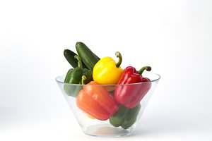 Fresh Paprika Bell Pepper in glass bowl