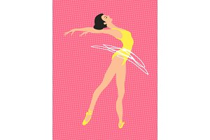 Vector elegant ballet dancer illustration on a retro vintage background.