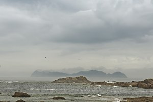 View of the Cies Islands from the co