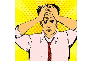 Vector stressed office worker man illustration. Businessman with hands on his head. Health problems with migraine.