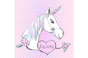 Magic unicorn with text. Vector pop art style cartoon illustration with fantastic horse.