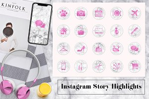 Marble & Pink Instagram Icons