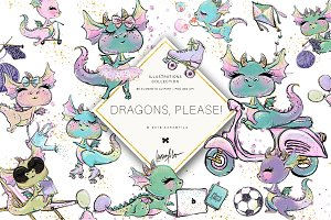 Cute Dragons Clipart