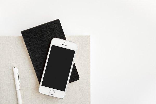Notebooks, Phone & Pen Flat Lay