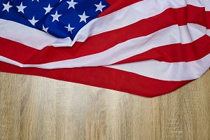 The Flag Of The United States Of America wooden background