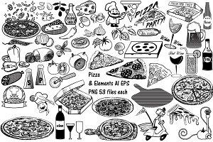 Pizza & Elements AI EPS PNG