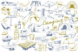 Hand Drawn Camping Elements Set