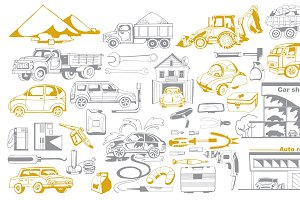 Doodle Cars And Auto Service Set