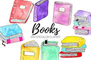 Watercolor Books Clipart