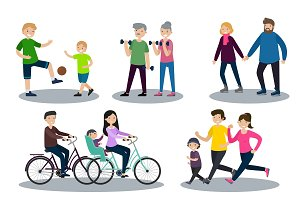 Sport And Healthy Family Set