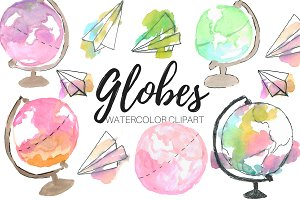 Cute Watercolor Globes Clipart