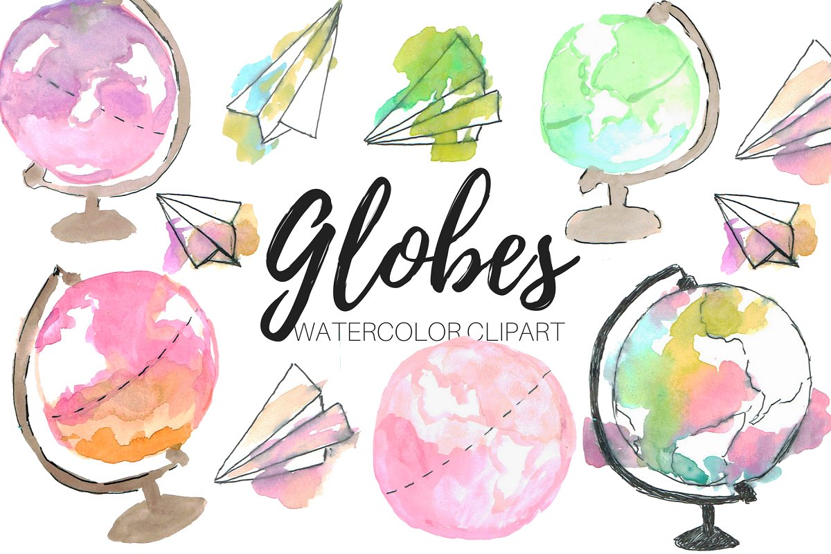 Globe cute. Watercolor globes clipart
