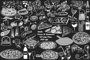 Chalkboard Pizza & Elements ClipArt