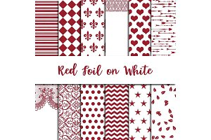 Red Foil on White Digital Paper