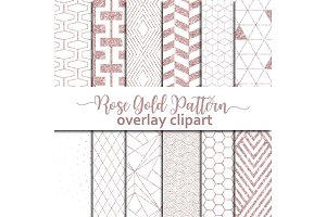 Geometric Rose Gold Pattern Overlay
