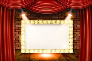 3D render Marquee light rectangle