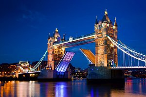 Tower Bridge in London at night