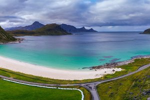 Haukland beach on Lofoten islands in Norway