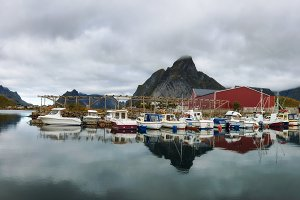Fishing boats at the port of Reine village on Lofoten islands in Norway