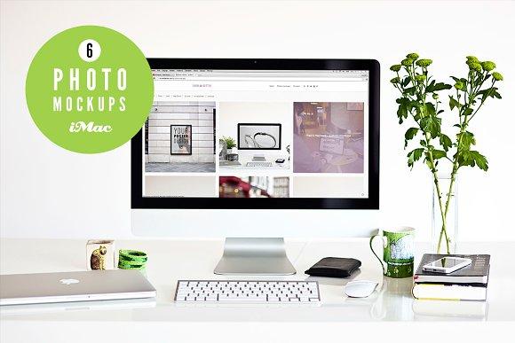 Free ★ green ★ 6 iMac photo mockups