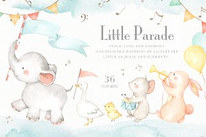 Little Parade Watercolor Clipart