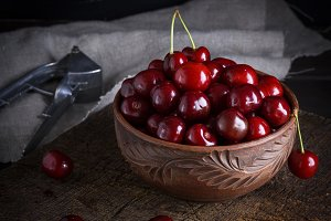 red ripe fresh cherry