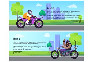 Biker Web Pages Collection Vector Illustration