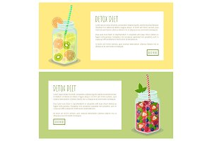 Detox Diet Set of Web Pages Posters Drink in Jars