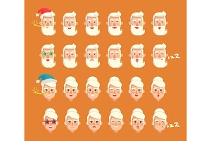 Grandparents Emotion Set, Vector Illustration