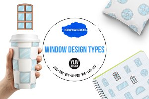 Window design types icons set