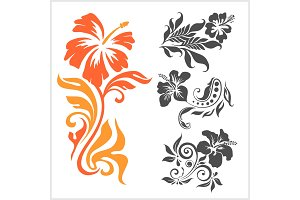 Lilly - floral design. Female tattoo. Vector illustration on a white background.