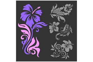 Lilly - floral design. Female tattoo. Vector illustration on a black background.