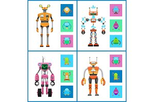 Robot and Mechanisms, Set Vector Illustration