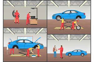 Vehicle Repair Service Color Vector Illustration
