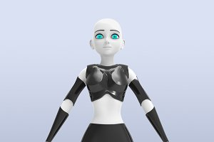 Robotic woman with real face