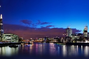 London skyline panorama at night