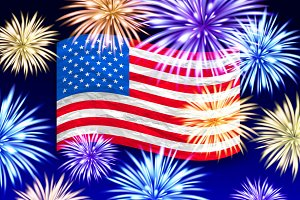 Fireworks USA flag vector