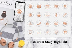 Copper & Marble Instagram Icons